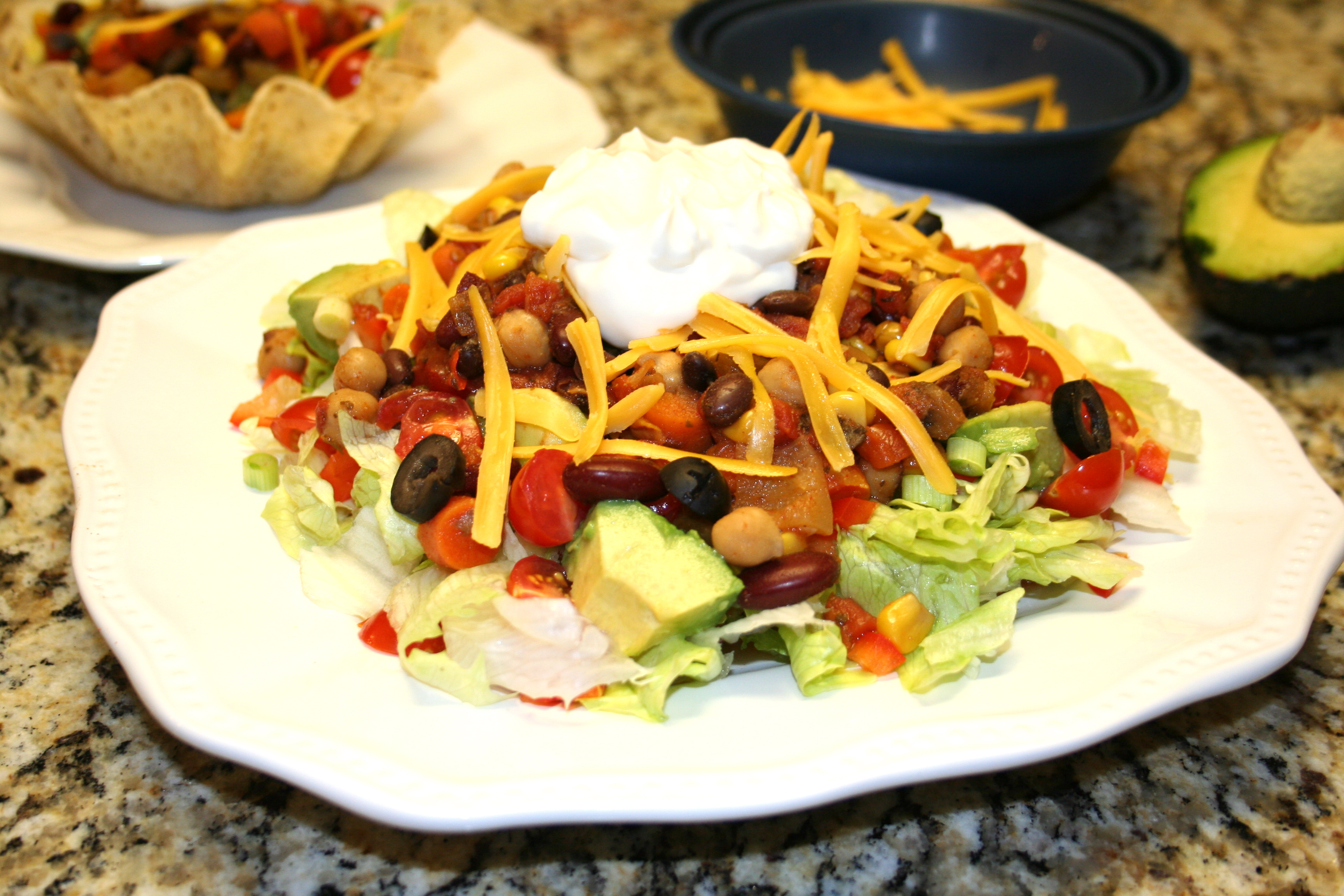 What to do with leftover vegetarian chili make a taco salad then add cheese olives and sour cream forumfinder Choice Image