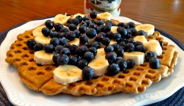 Oatmeal Waffles with Bananas and Blueberries