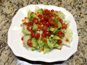 Add tomatoes, green onions, red pepper and avocado.