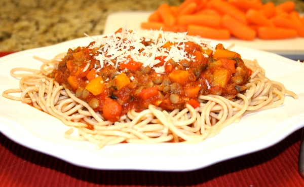 Spaghetti with Lentil Vegetable Sauce