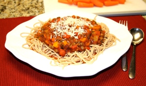 Serve sauce over the spaghetti and top with parmesan cheese if you wish. It is also excellent without it.